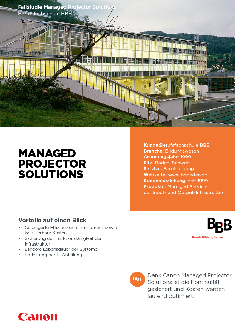 Managed Projector Solutions Berufsfachschule BBB
