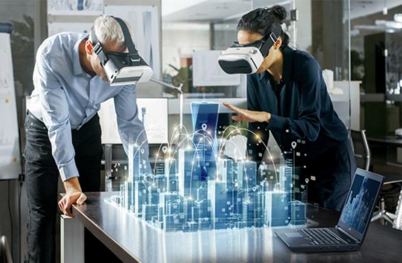 Simulation einer Stadt sichtbar durch Virtual Reality Brillen - Fujitsu Workstations